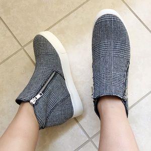 taylor plaid wedge platform sneakers